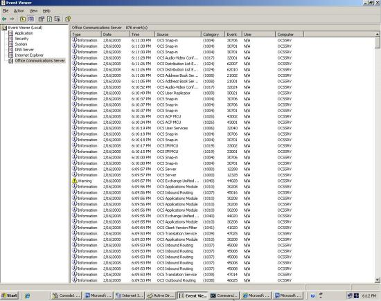 OCS Event Viewer