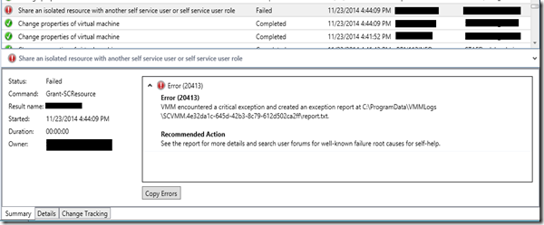 VMM Refresh Error